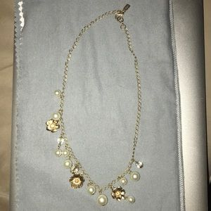 Faux pearl and gold necklace